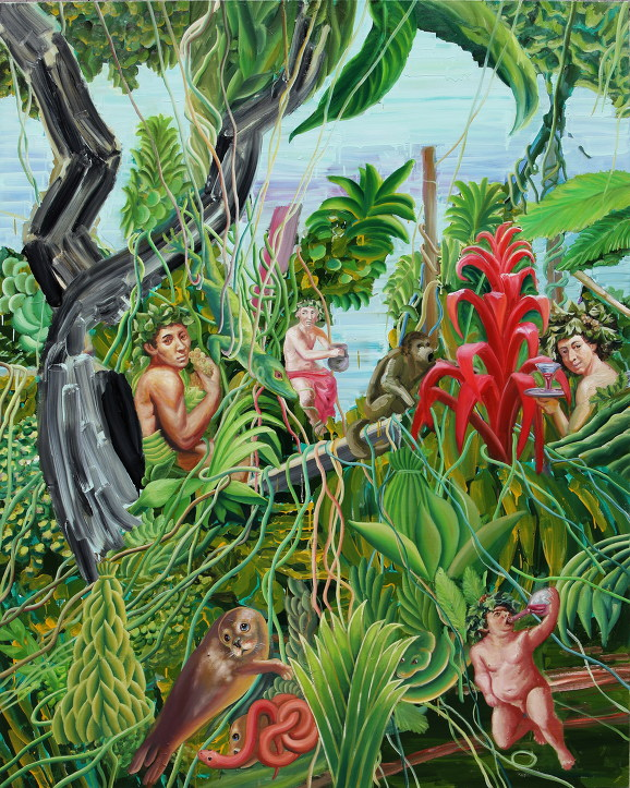 디오니소스의 숲Dionysus in bricolage forest 227x181cm oil on canva