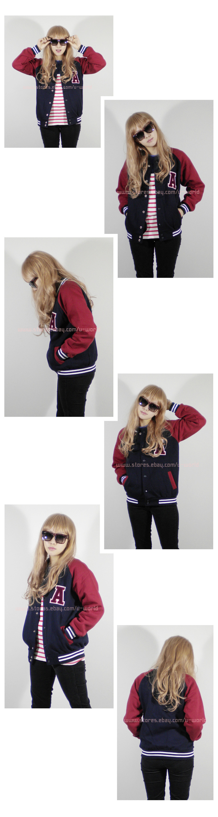 Womens raglan letter a patch varsity baseball jacket xs s 01794 area code