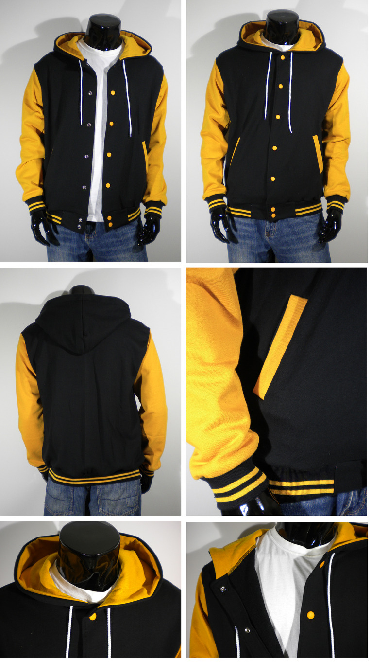Black And Yellow Baseball Jacket - JacketIn