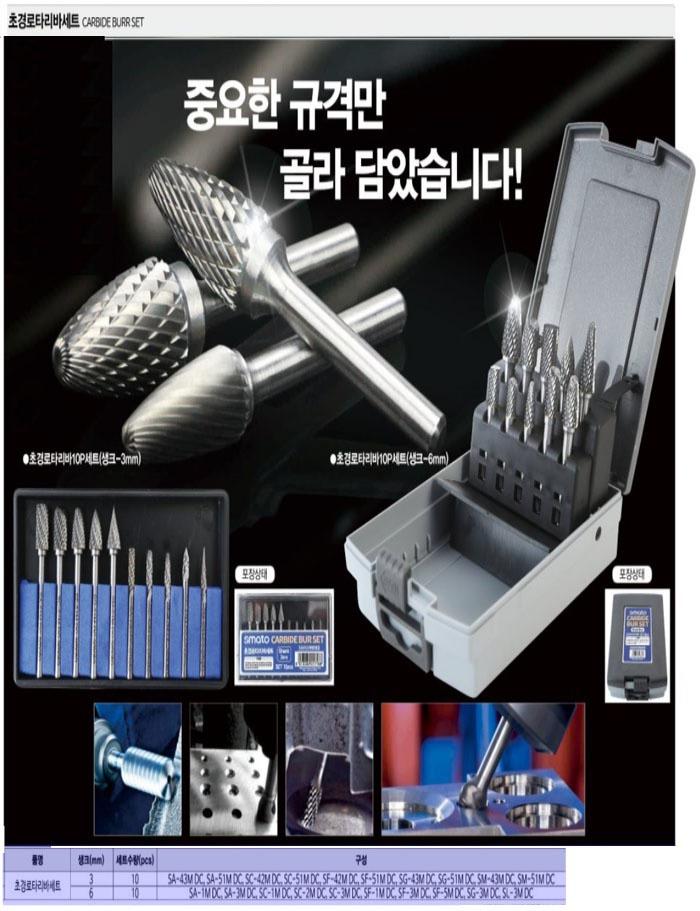 초경로타리바세트 10PCS(3mm) SMATO로타리바 제조업체의 절삭/초경/공작기기/드릴/센터드릴 가격비교 및 판매정보 소개