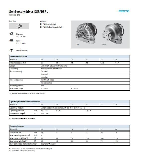 회전실린더(Rotary Cylinder)/DSR series 공압실린더 DSR-12-180-P 페스토(FESTO) 제조업체의 해외직구