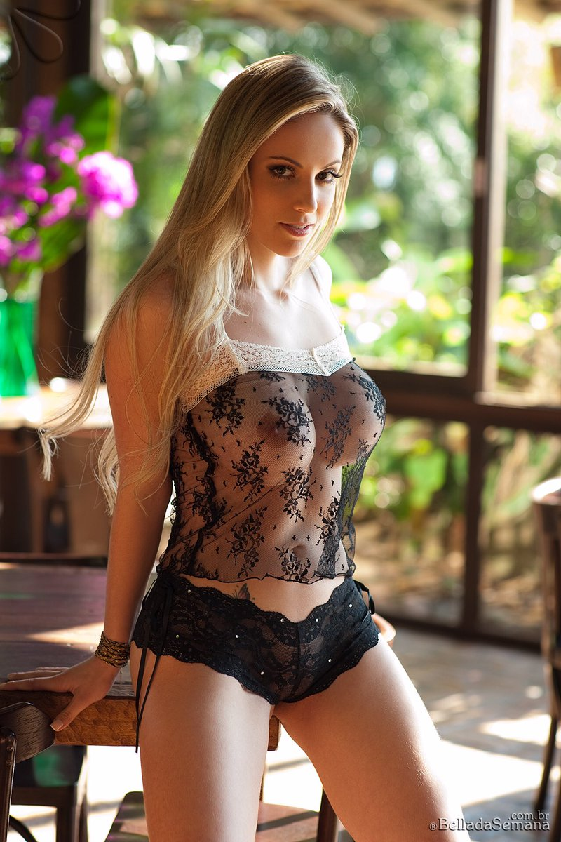 hot glamour in see through lingerie