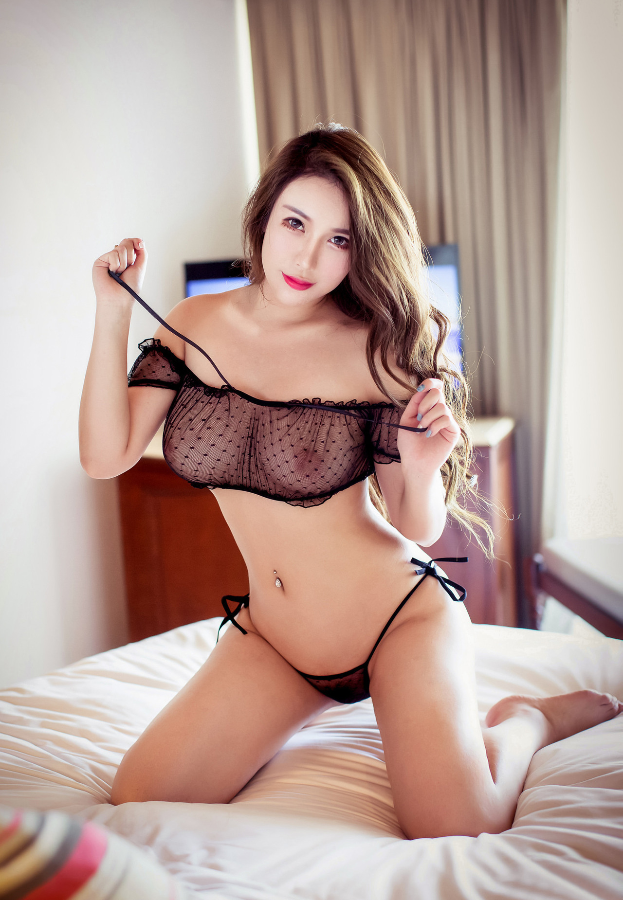 hot Chinese in see through lingerie