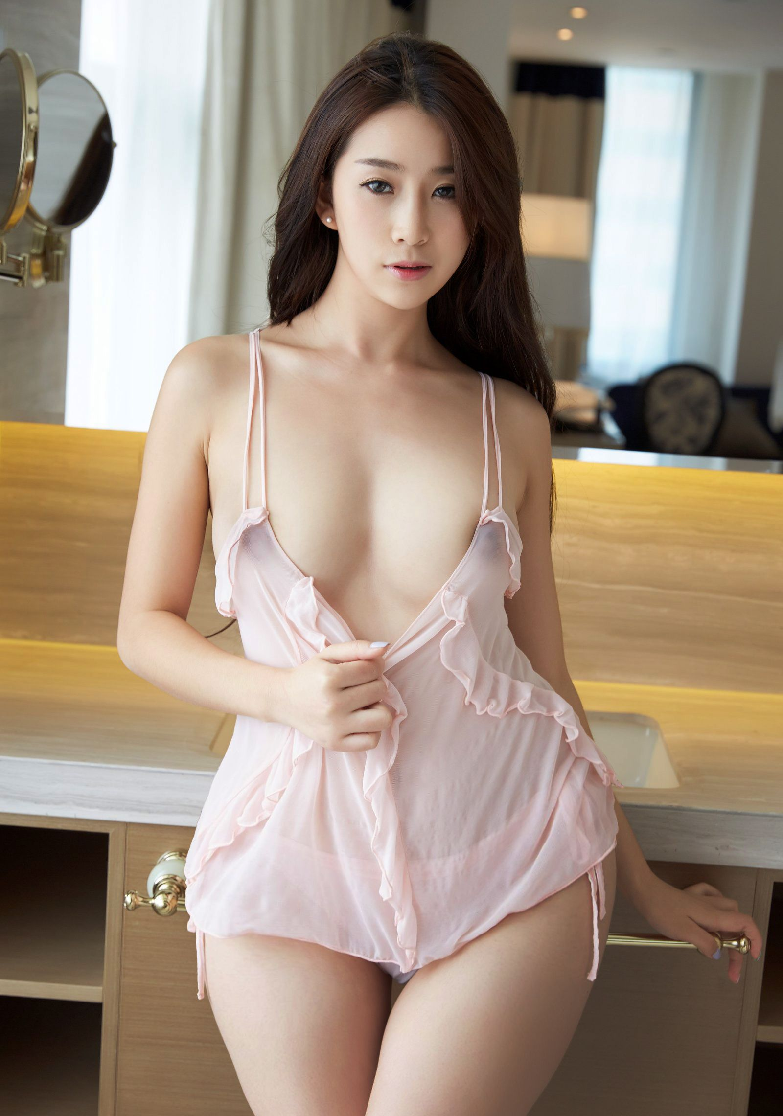 hot Chinese glamour wearing see through lingerie